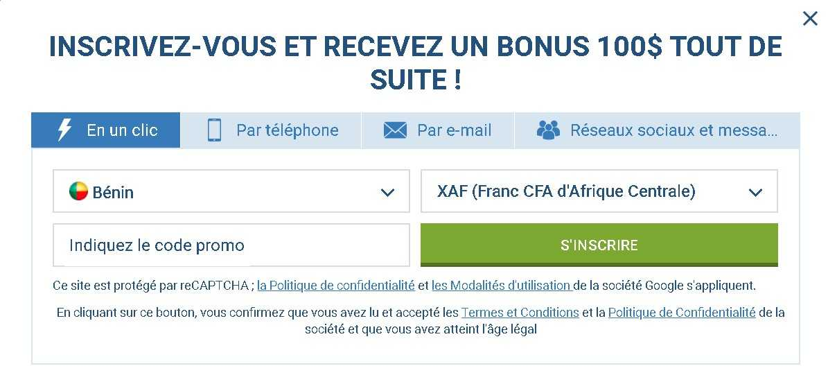 1xBet incrire on site
