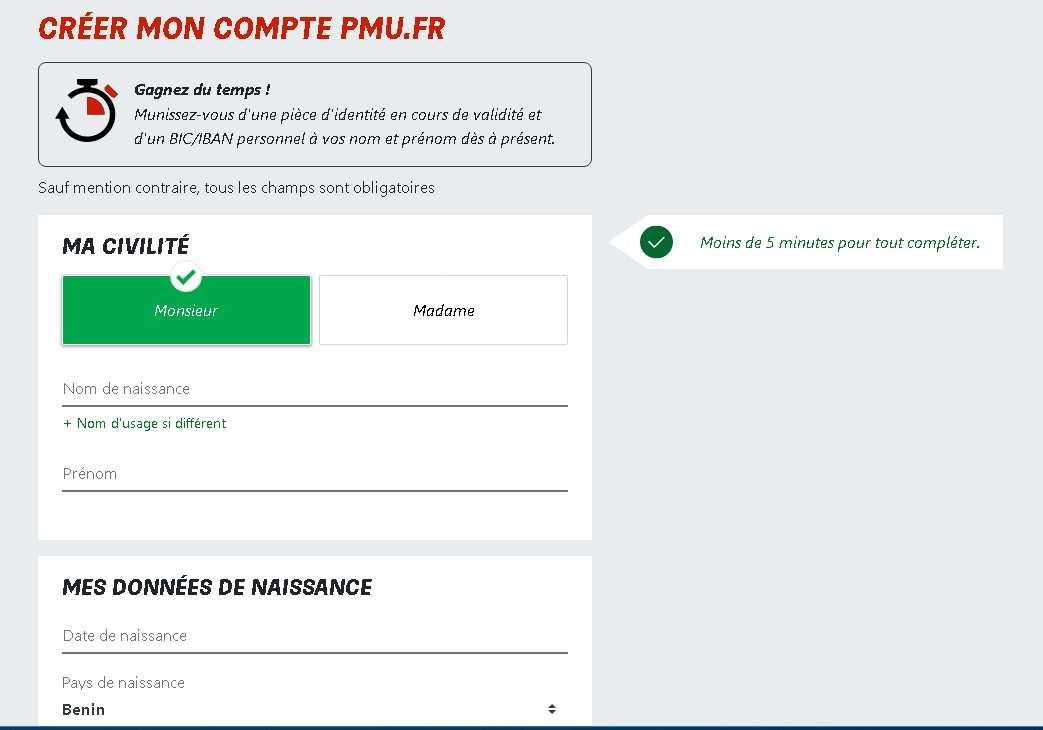 PMU register form