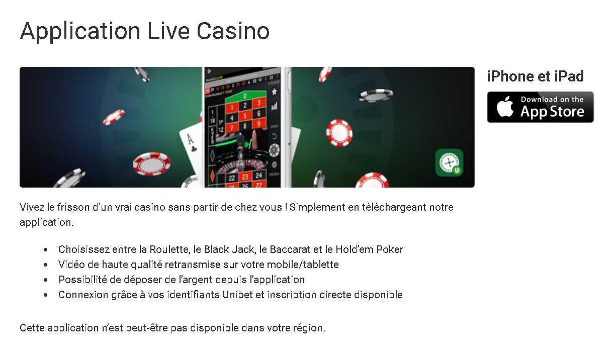 Unibet app casino
