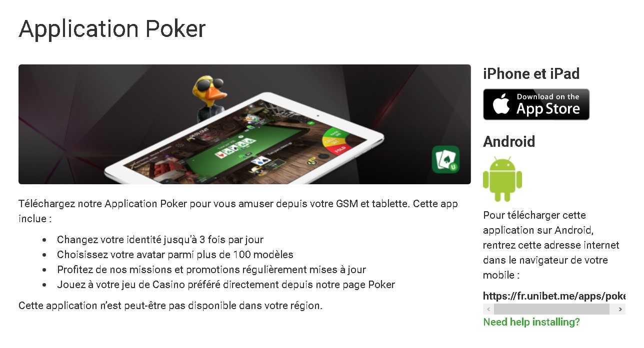 Unibet app poker