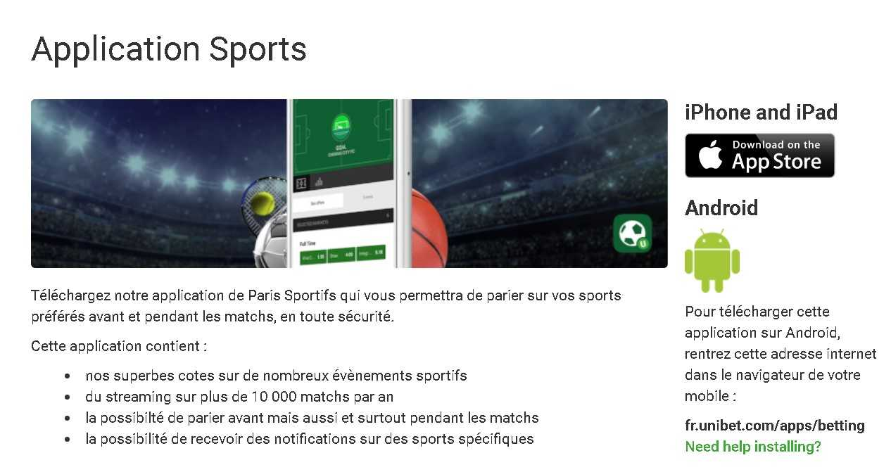 Unibet app sports
