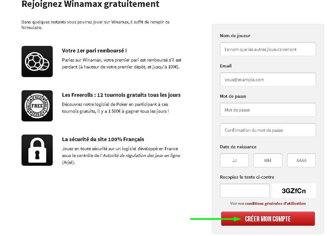 Winamax registration form